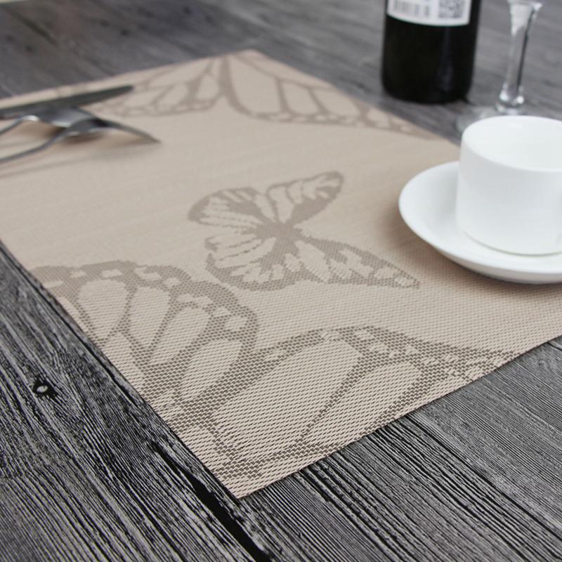 4片裝餐墊歐式PVC隔熱墊長方形日式簡約餐桌墊杯墊碗墊盤子西餐墊