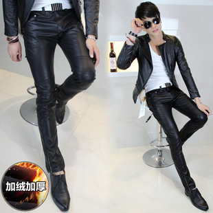 Men s winter fashion leather pants Korean Slim pants tide male feet tight nightclub personality locomotive men s leather pants