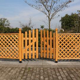 实木栅栏门橘黄色白色网片防腐篱笆门户外花园庭院围栏护栏隔断门