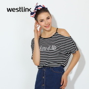 Westlink/West spring 2016 new slim strapless striped letters printed sleeve head knit t shirt