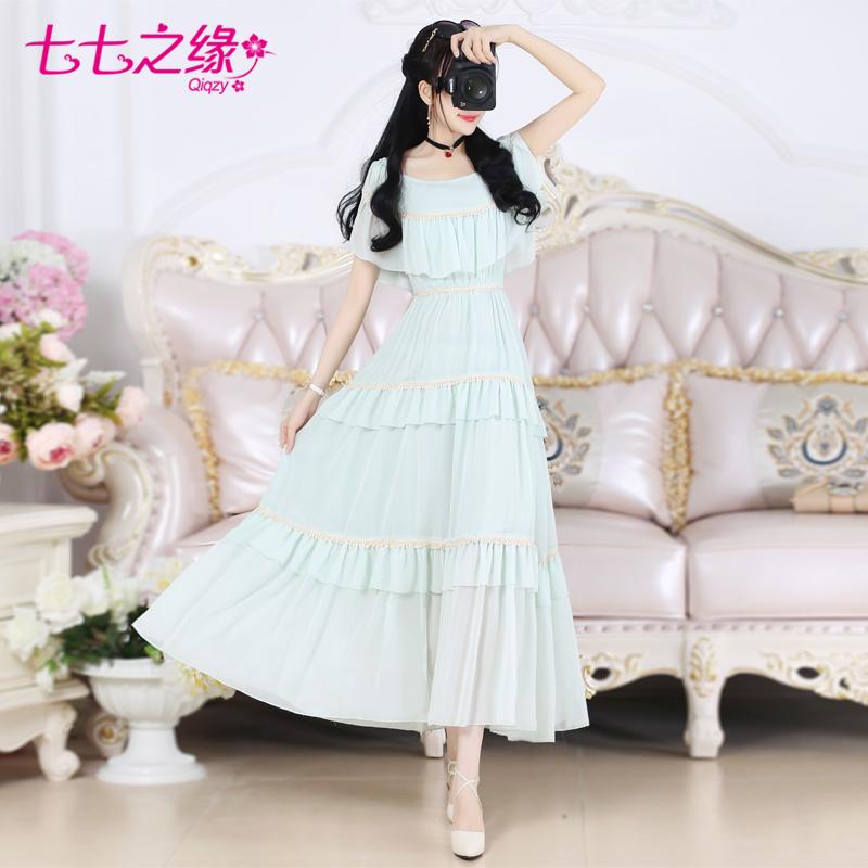 七七之缘夏装新款女装 绿色荷叶气质修身吊带雪纺长裙连衣裙