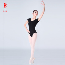 Red Dance shoes 5008 cotton ammonia short sleeves (wing) ballet practice half body clothing adult children gymnastics clothing Jumpsuit