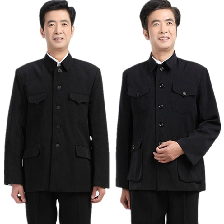 Autumn and winter thick style middle-aged and old mens middle-aged and old mens coat top single piece national defense clothing peoples clothing