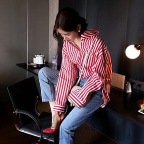 2017夏新款宽松红白条纹长袖