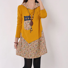 The new winter 2015 loose big yards long in fashionable female long sleeve hooded T-shirt floral blouse render