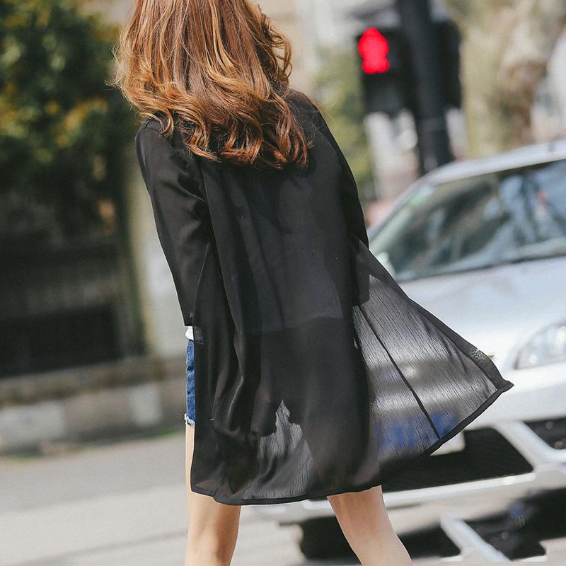 2016 防曬衣服女士雪紡空調開衫大碼中長款輕薄披肩外套防曬衫