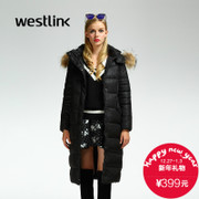 Westlink/West New 2015 winter warm hooded long wool collar long padded coat women's coat