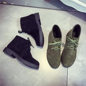 英伦风女鞋平底加绒亚博体育在线客服女秋冬棉靴棉鞋马丁靴女磨砂皮靴子女