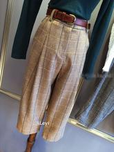 Fall 2015 New England woolen cloth low-rise wide-legged pants female big squares College temperament nine points leisure trousers
