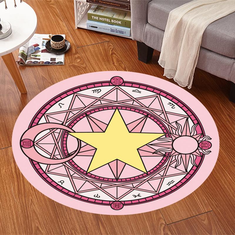 MUMU良品 魔卡少女櫻粉色魔法圓毯兒童圓形地毯卧室地墊動漫周邊