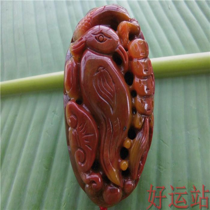 宝石工艺品促销黄龙玉手把件吉祥鸟朱雀玉石摆件珠宝奇石手玩件