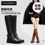 New leather belt buckle round head feibolier winter boots in women's shoes FB44119949