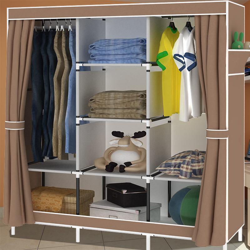Легко Оксфорд нетканого материала шкаф IKEA кабинет большой двойной стальной арматуры Ассамблея складки висит шкаф
