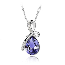 Austrian man ting fang necklace with purple crystal