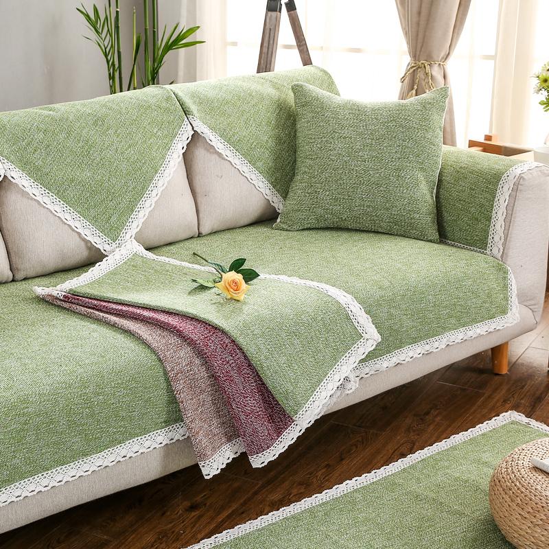 布藝沙發墊四季 簡約 實木棉麻沙發巾套罩防滑皮坐墊