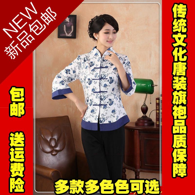 新款中国风女装上衣春夏秋季女士传统文化亚麻唐装七分袖棉麻汉服