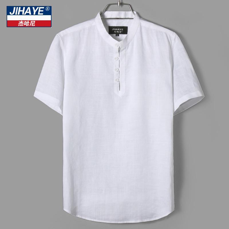 傑哈尼 中國風男裝棉麻短袖 亞麻立領T恤男士寬鬆襯衫 薄款套