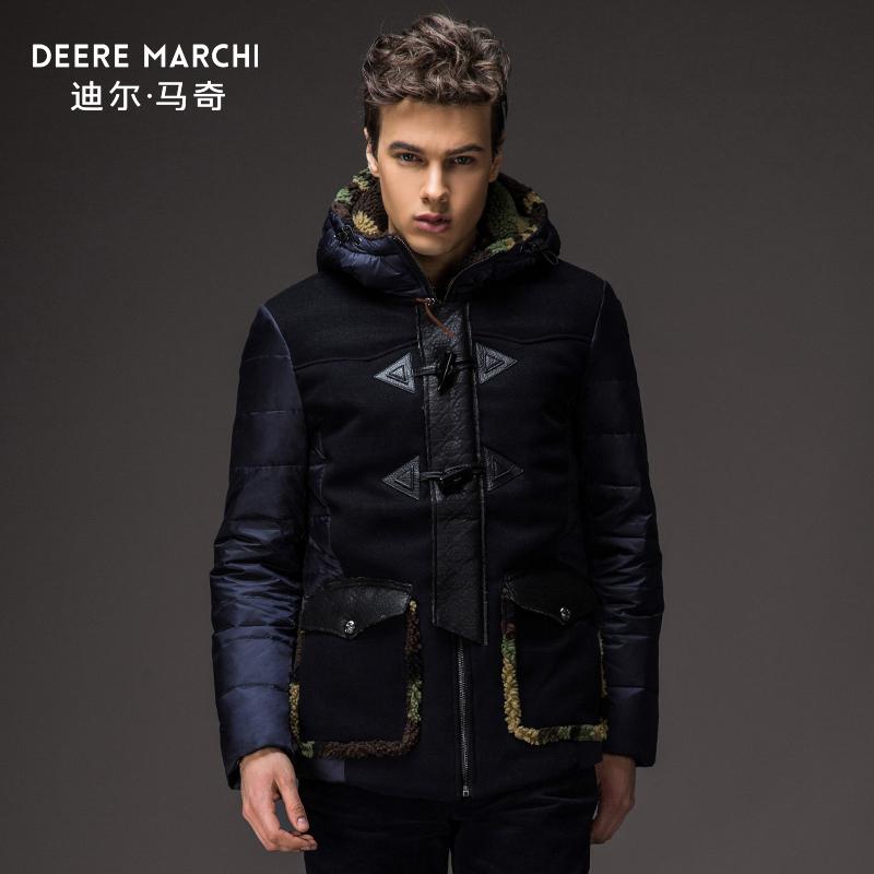 [Подарок] Dilmac молодых ягнят шерстяное пальто с капюшоном рог кнопку толстые зимние вниз Пальто мужские M13515
