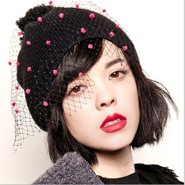 Уличная мода в Европе и Америке, Английский ретро сетка сладкий полосатый шерстяные трикотажные шапки Осень/Зима Женская шерстяная шапка корейской версии