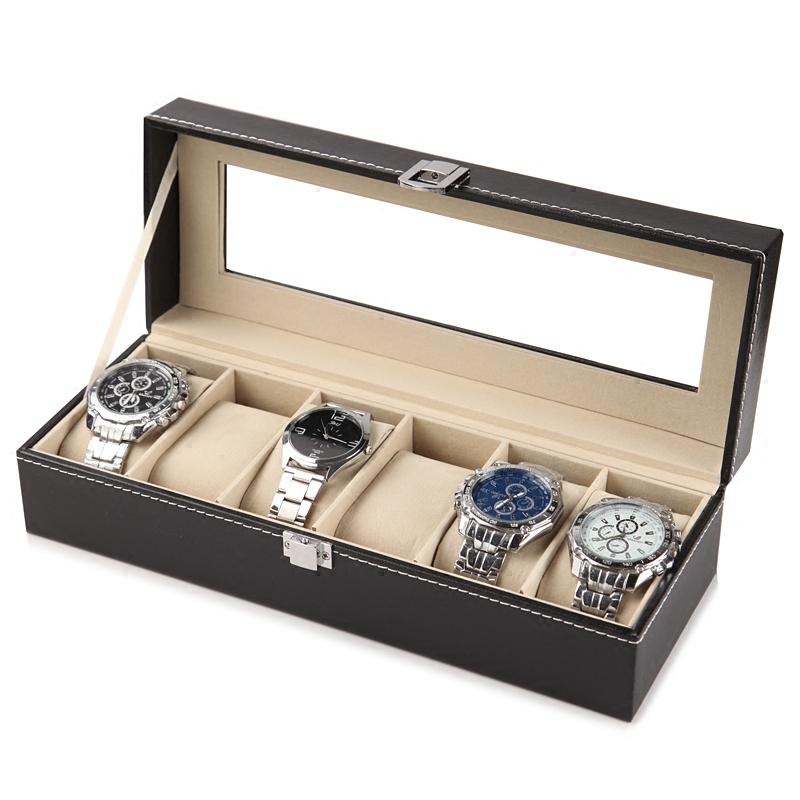 手表收纳盒开窗皮革首饰箱高档手表包装整理盒摆地摊手链盘手表架