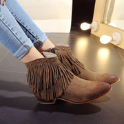 2015 leather short boots with tassels in winter shoes with pointed toes chunky heels ankle boots round head Martin nude boots women's boots boots