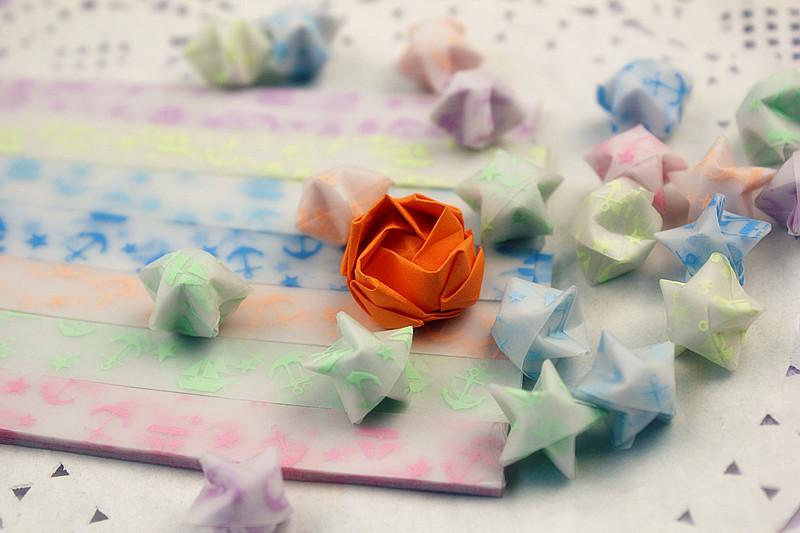夜光海军风 幸运星折纸 星星纸 星条 折星星的纸礼物/DIY手工叠纸