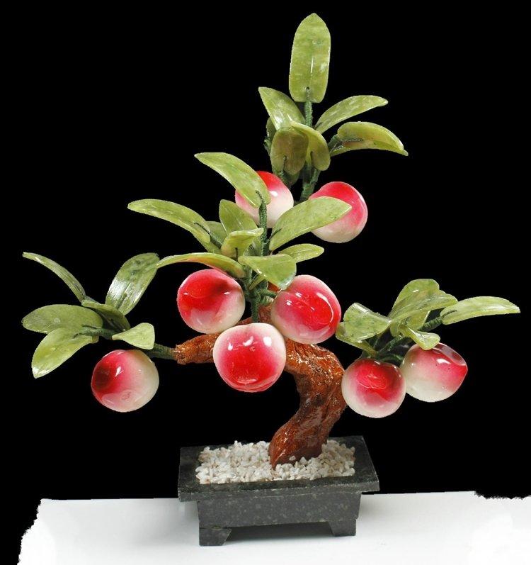 玉石寿桃子树玉器盘景家居玄关饰品仙桃蟠桃树玉器天然工艺品摆件