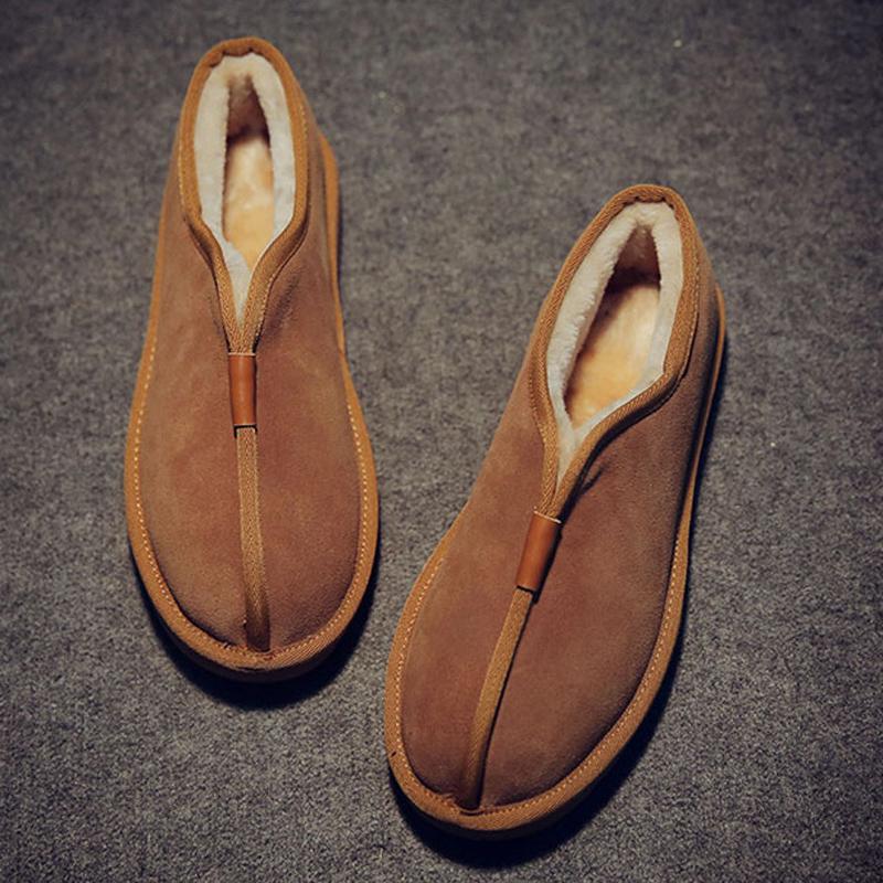Velutluna秋冬日系复古男式加厚保暖低帮棉鞋雪地靴罗汉鞋和尚鞋