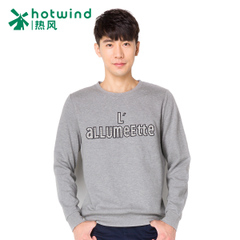 Hot spring and autumn men letters printed sleeve sweater tide male round neck long sleeves slim 20W5700