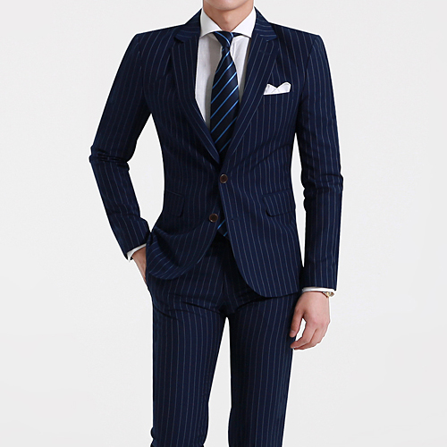 Korean mens summer new striped mens slim casual two grain single breasted suit