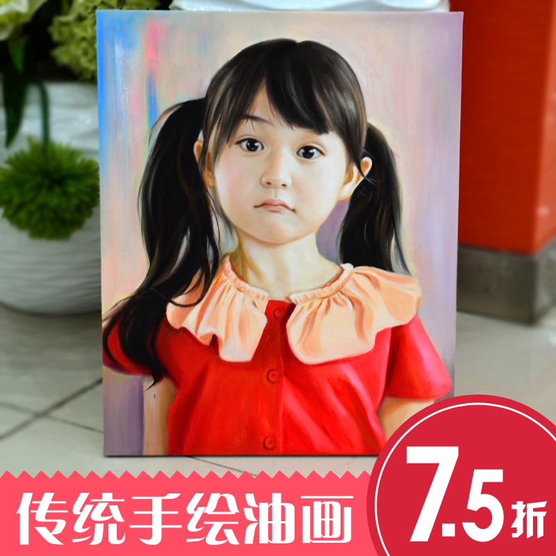 传统肖像油画个姓订制宠物风景画纯手绘油画人物婚纱油画定制