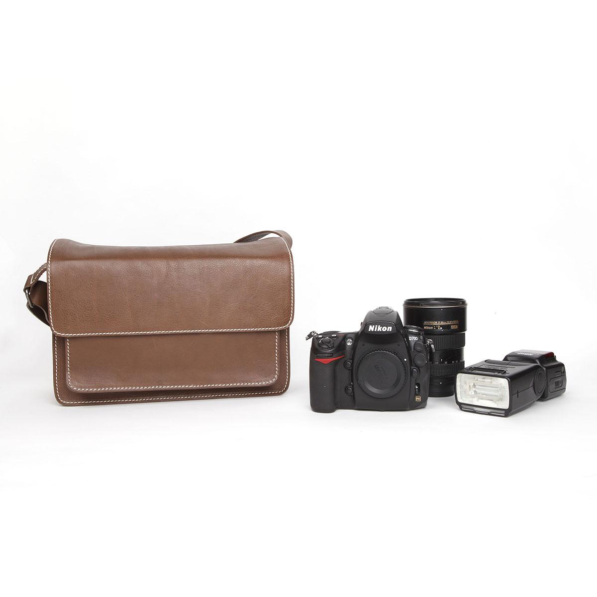 cam-in 真皮单肩单反数码相机包 复古牛皮摄影包 中号 PP061