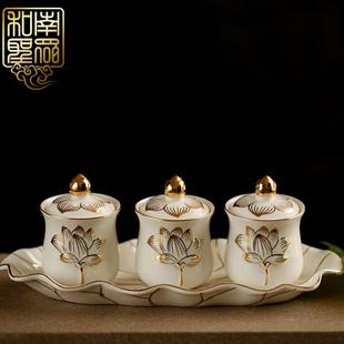 套佛教用品佛堂供杯圣水杯供水杯陶瓷描金浮雕莲花贡杯净水杯
