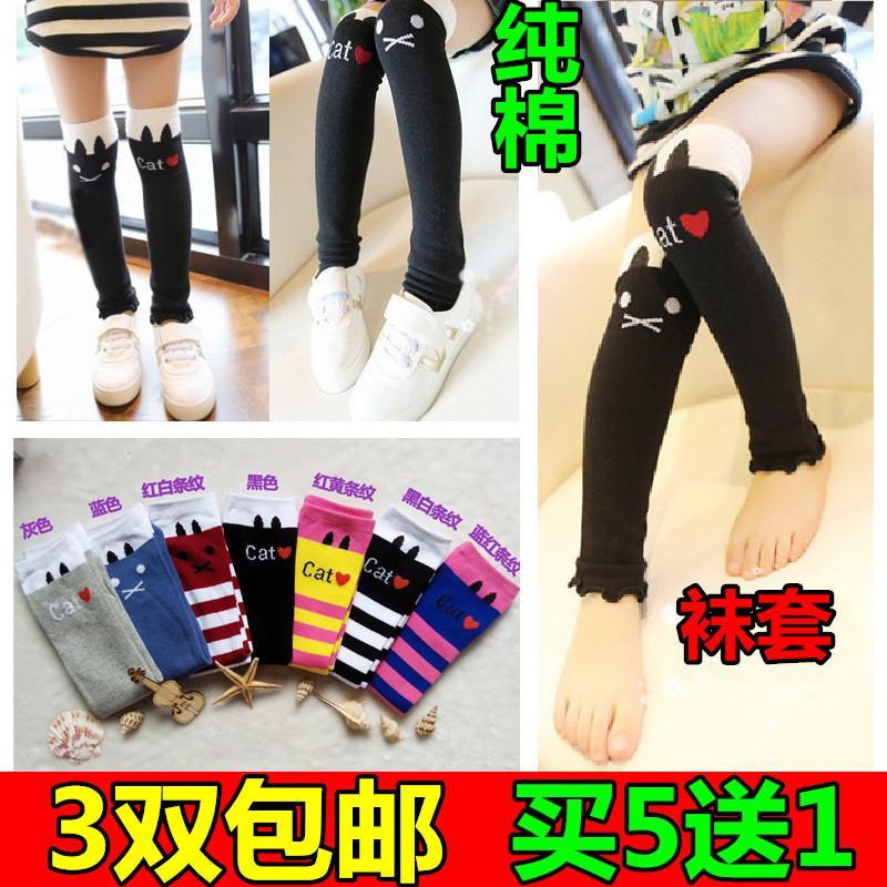 Дети носки хлопок колено Корея девушки Носки детские носки за колено Чулки в весенний и осенний период