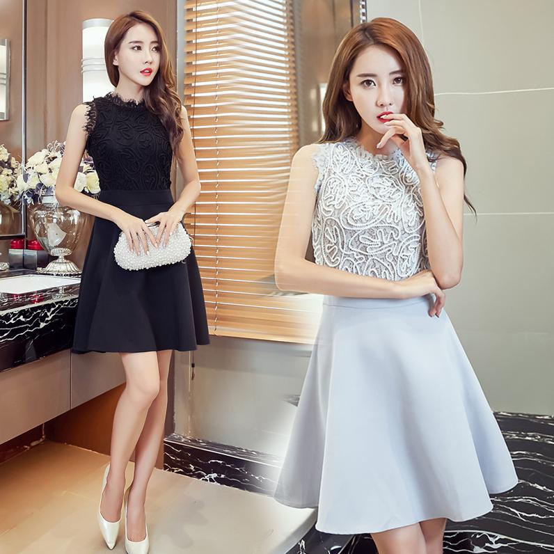 2020韩版夏季天新款女装时尚修身气质蕾丝收腰A字无袖连身连衣裙