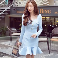 Fishtail dress big pink doll 2015 autumn new products bubble diamond long sleeve collar bag hip dress