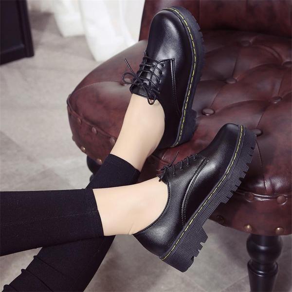 秋冬季加绒学生中跟单鞋休闲圆头小皮鞋女英伦风棉鞋厚底松糕女鞋
