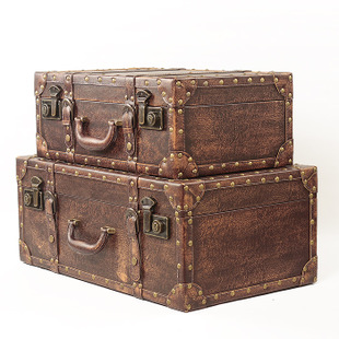 Antique leather suitcase vintage antique wooden piece of home textile studio props cupboard decorative boxes