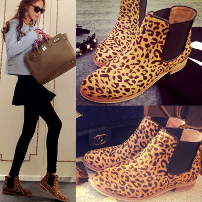 The European and American fashion of new fund of 2015 autumn round head flat boots and leather horse hair female leopard boots on sale bag mail
