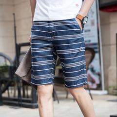 216-8637-P60 条纹印花短裤 男士中裤 三色