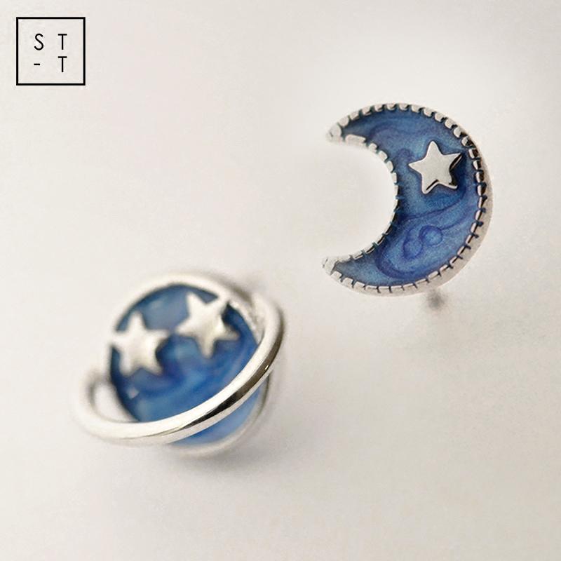 纯银耳钉女沈太太925星星月亮耳饰蓝色不对称可爱个性耳环少女心