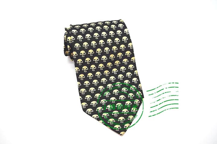中國代購|中國批發-ibuy99|领带|小排的时光 万圣节party黄色可爱的骷髅头卡通真丝印花领带 男士