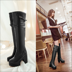 Female British wind sleeve over the knee boots for fall/winter thick heeled biker boots with round head and thick-soled boots wedges boots