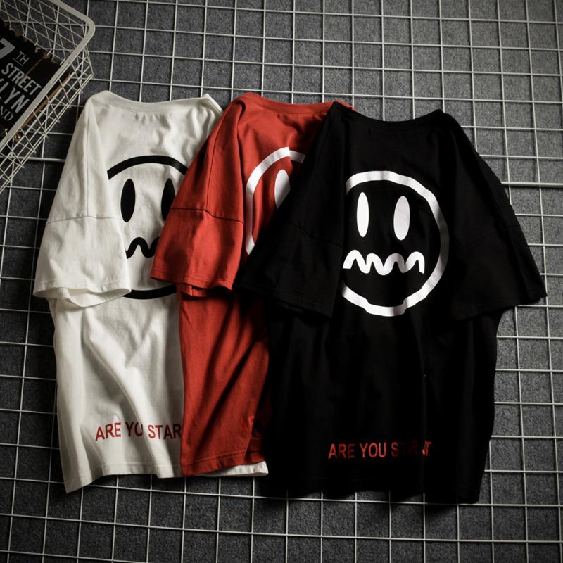 夏季印花加肥加大码宽松嘻哈短袖男T恤潮流学生半袖衣服韩版笑脸