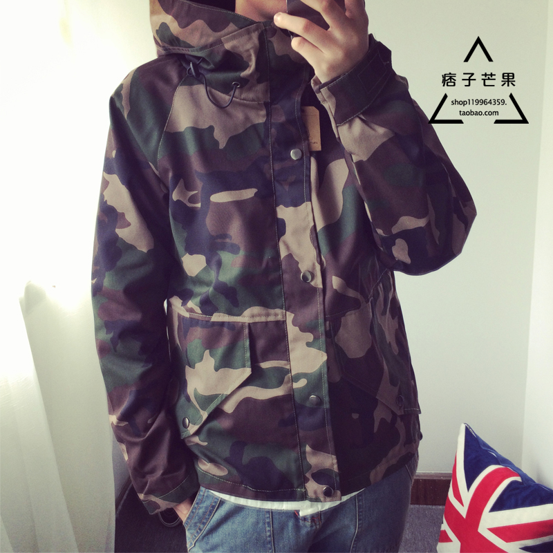 Spring and autumn mens and womens camouflage clothing Hooded Jacket work clothes casual charge loose and thick coat fashion brand hip-hop couples shirt