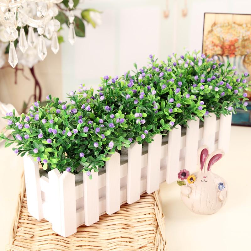 迷妝假花盆栽擺設仿真花套裝飾品柵欄花藝擺件客廳七夕塑料花絹花