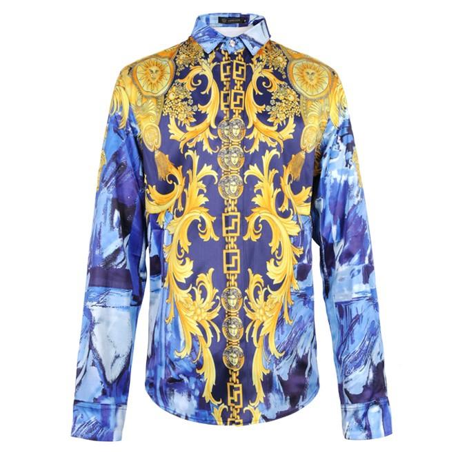 Уличная мода GVC вер * туз дворец в стиле барокко в Европе и Америке тратят шить тонкий длинный рукав рубашки мужские
