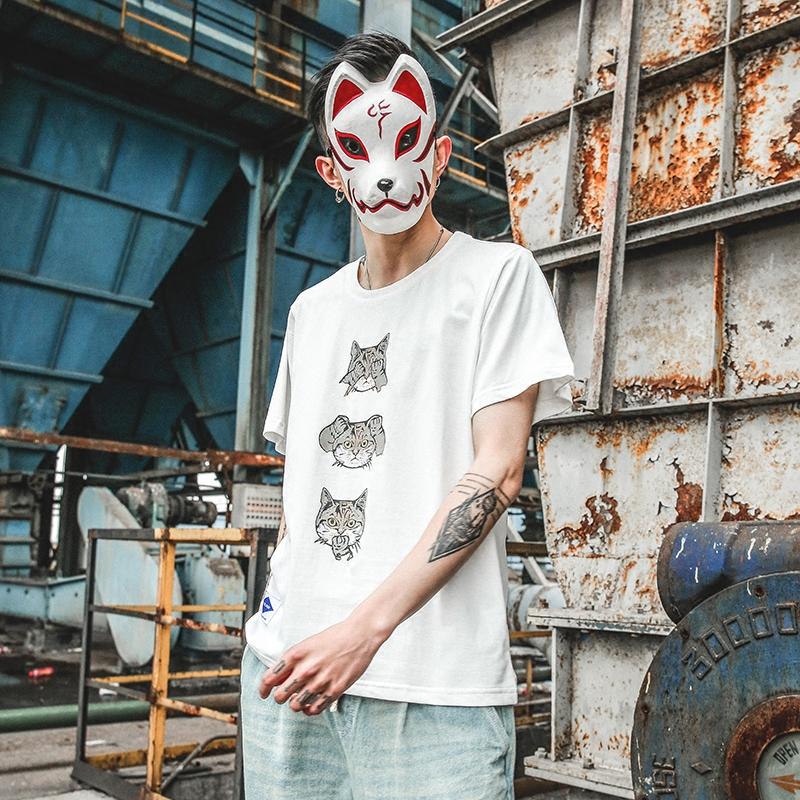 清仓特价夏季日系趣味可爱猫咪印花短袖纯棉青年休闲圆领T恤男潮