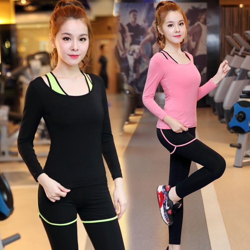 瑜伽服套裝 女顯瘦修身長袖健身房 跑步三件套韓國瑜珈服