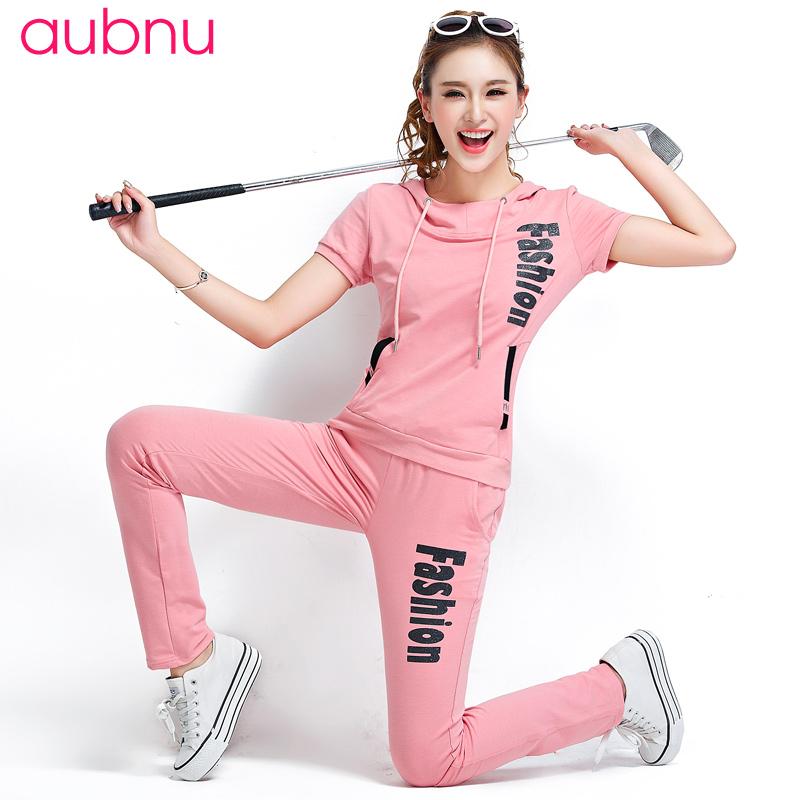 Aubnu работает костюм женщин 15 Размер студентов стильный летом случайные короткий рукав свитер брюки спортивный костюм